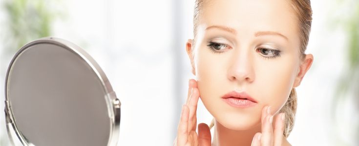 skincare in the mirror