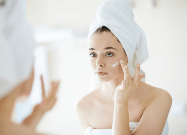 skincare in mirror