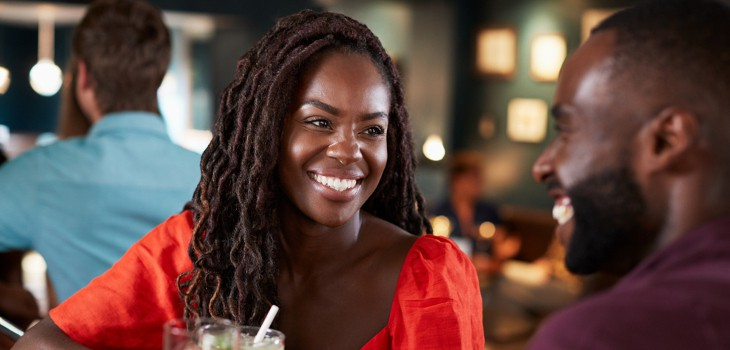 Woman smiling on valentines date
