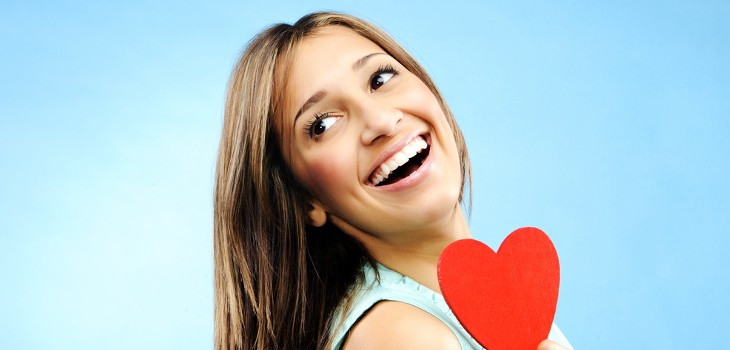 Woman smiling on valentines day